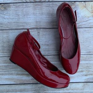 BCBGirls Red Patent Leather Ankle Strap Wedges